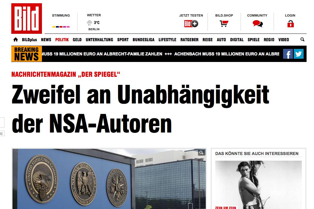 """""""Der Spiegel"""": Zweifel an Unabhängigkeit der NSA-Autoren - Politik Inland - Bild.de 2015-01-20 10-03-46"""
