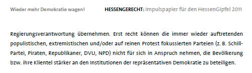 """Ausriss """"Impulspapier für den HessenGipfel 2011"""""""
