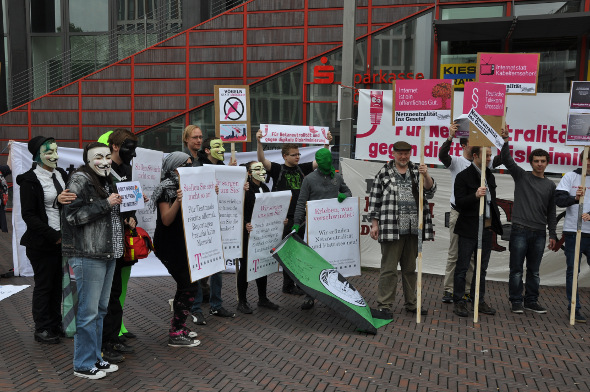 Activists protesting at Telekom AGM