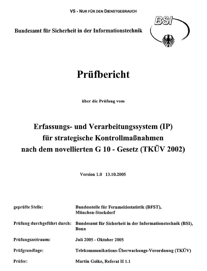 Cover des Prüfberichts.
