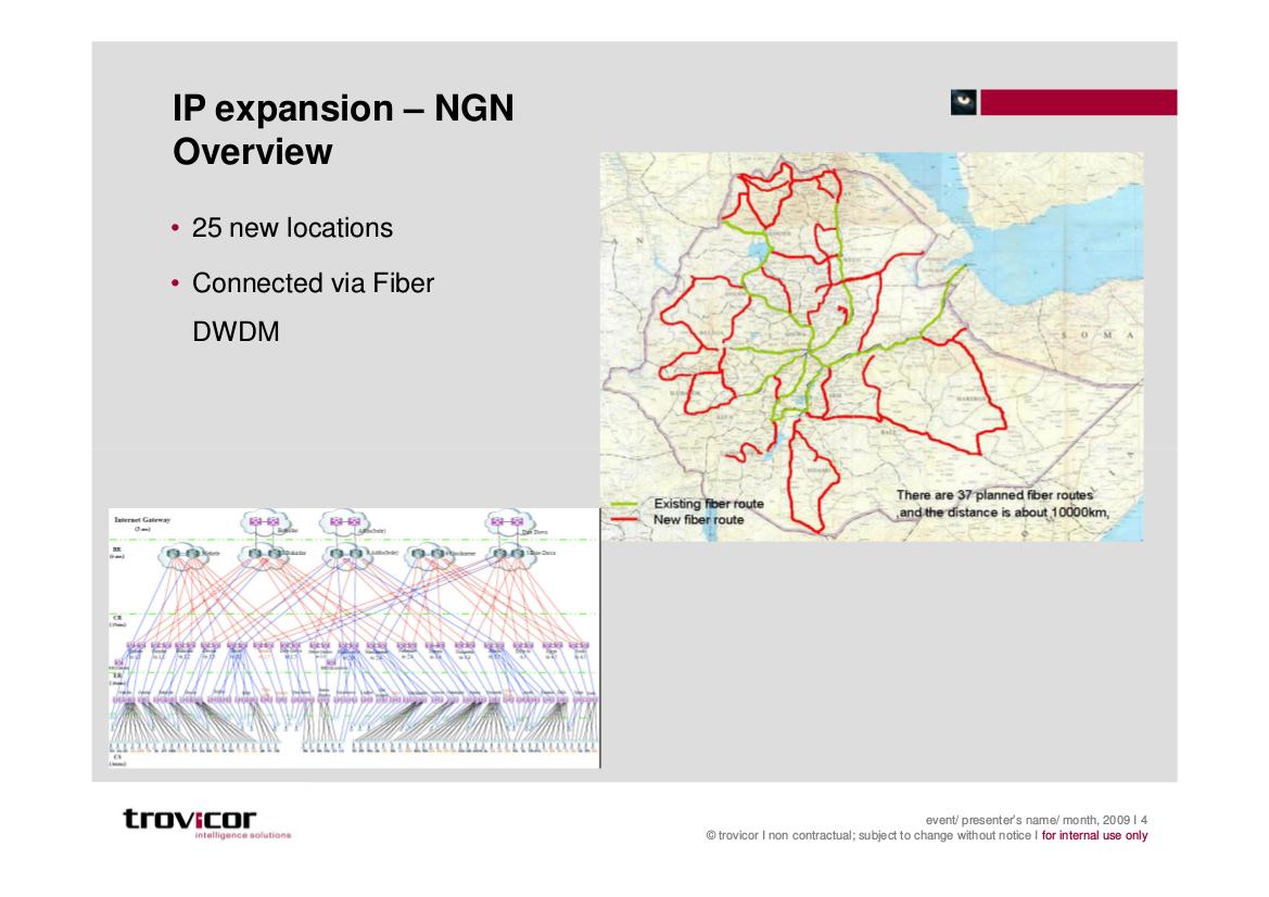 Folie von Trovicor zur Ausweitung von Internet-Verkehr in Äthiopien.
