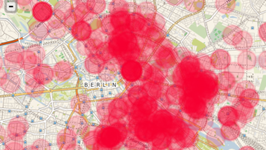 Darstellung einer Funkzellenabfrage von brennenden Autos in Berlin.