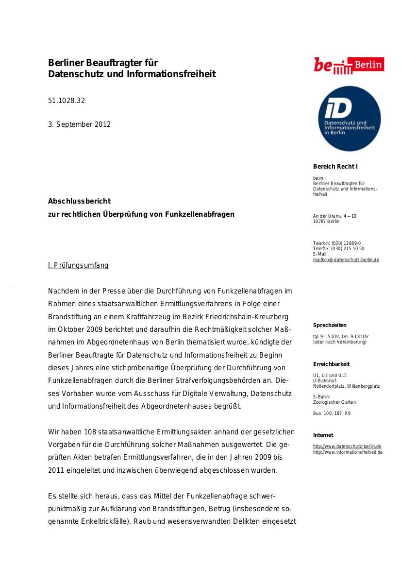 Prüfbericht des Berliner Datenschutzbeauftragten.