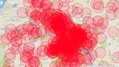 Rote Kreise auf Berliner Stadtkarte
