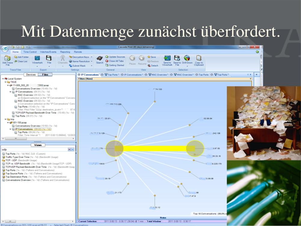 """""""Mit Datenmenge zunächst überfordert."""" Slide: LKA Baden-Württemberg."""