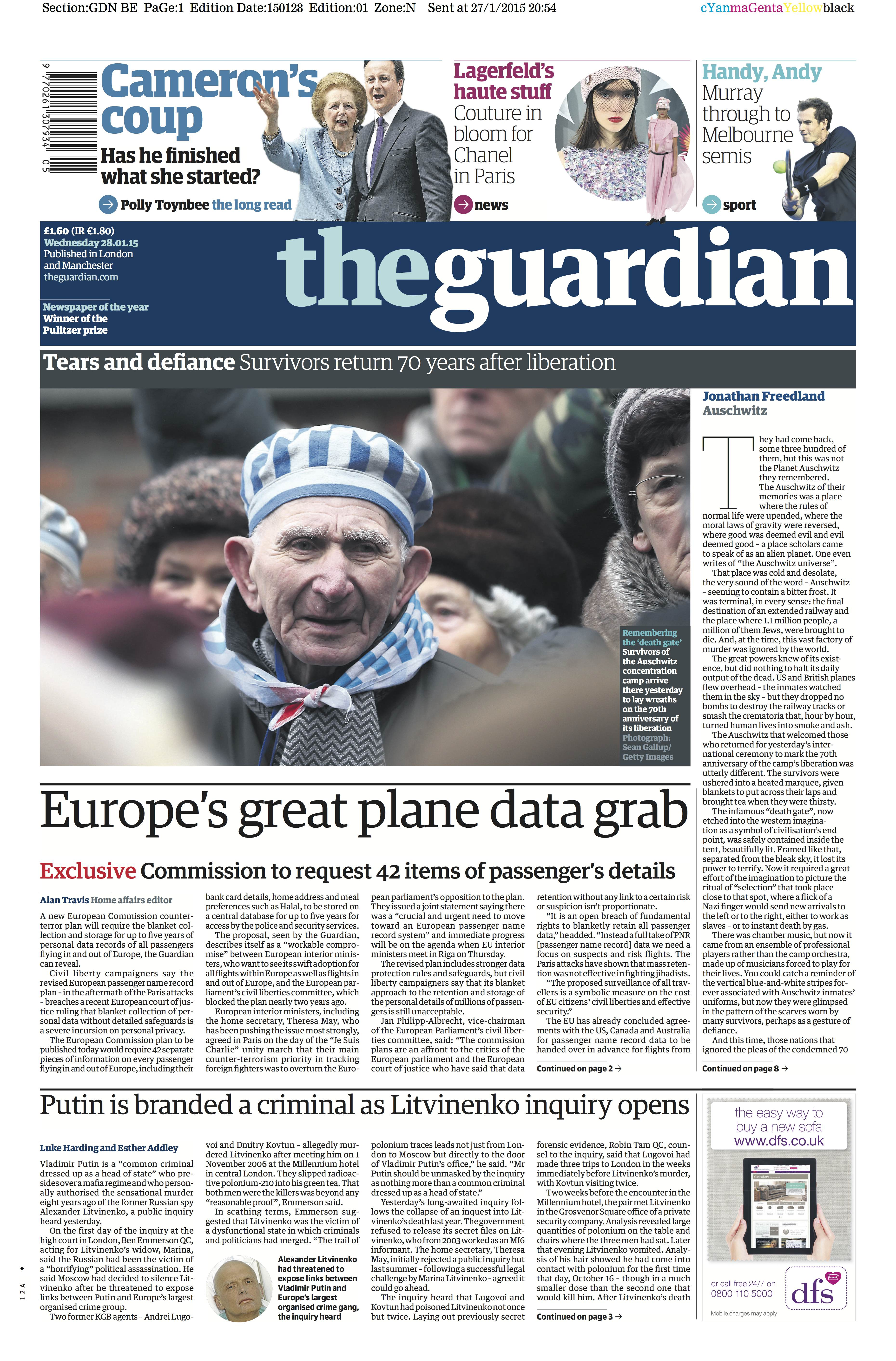 """Heutige Titelseite des Guardian: """"Europas großer Griff nach Flugdaten."""""""