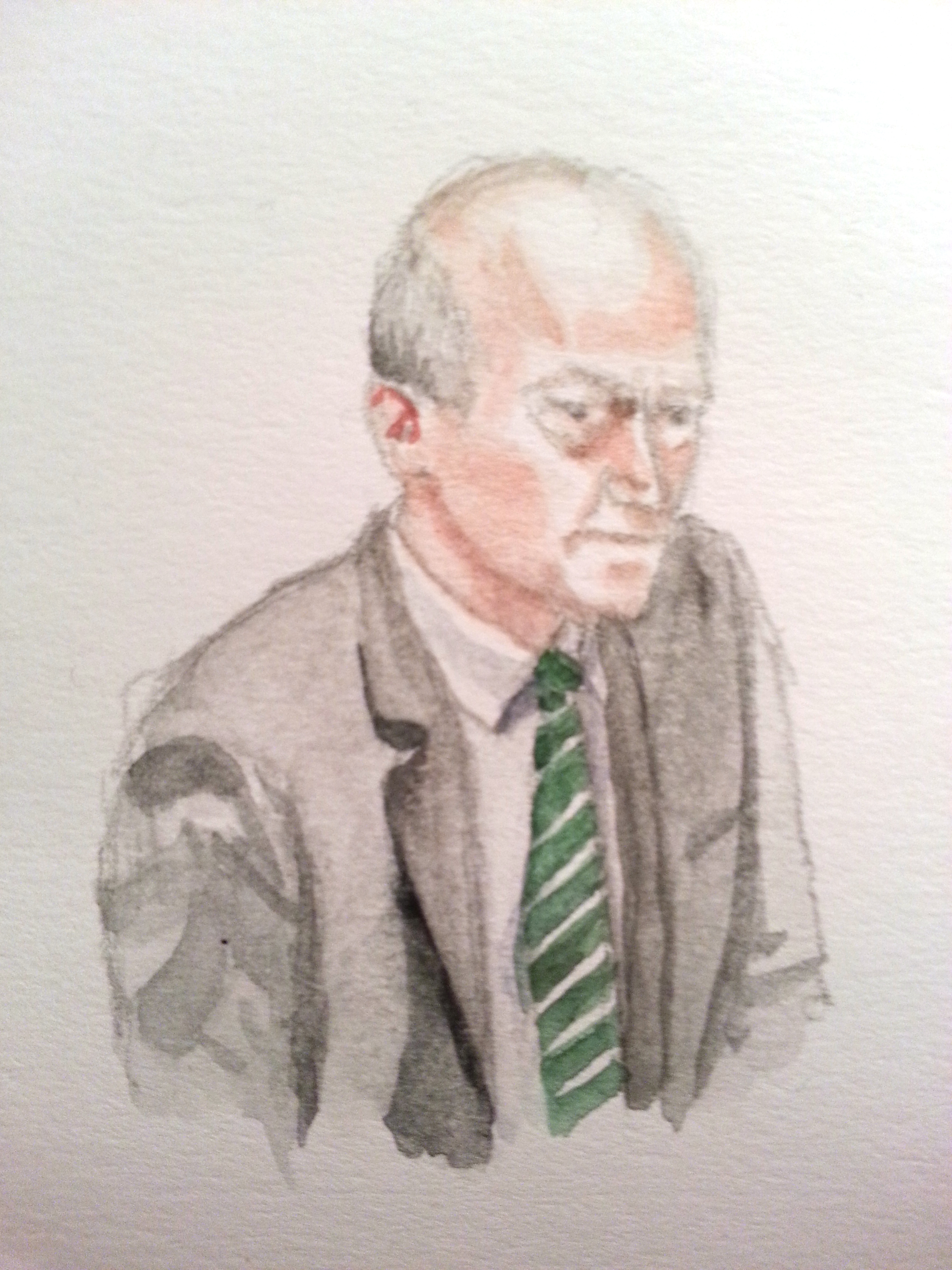 Zeuge Gerhard Schindler bei seiner Anhörung. Zeichnung: Stella Schiffczyk.
