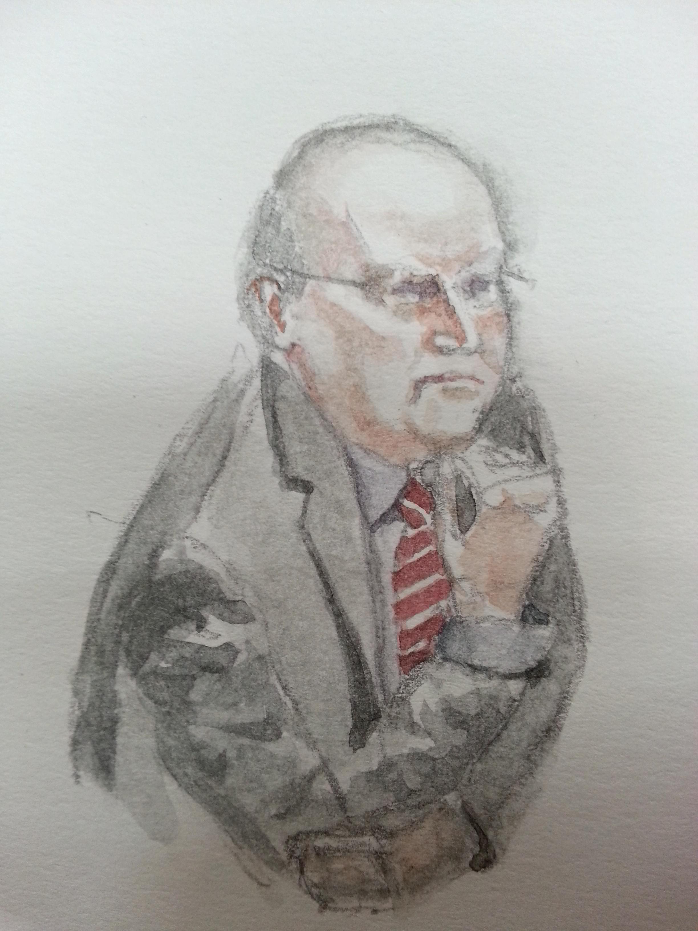 Zeuge Klaus-Dieter Fritsche bei seiner Anhörung. Zeichnung: Stella Schiffczyk.