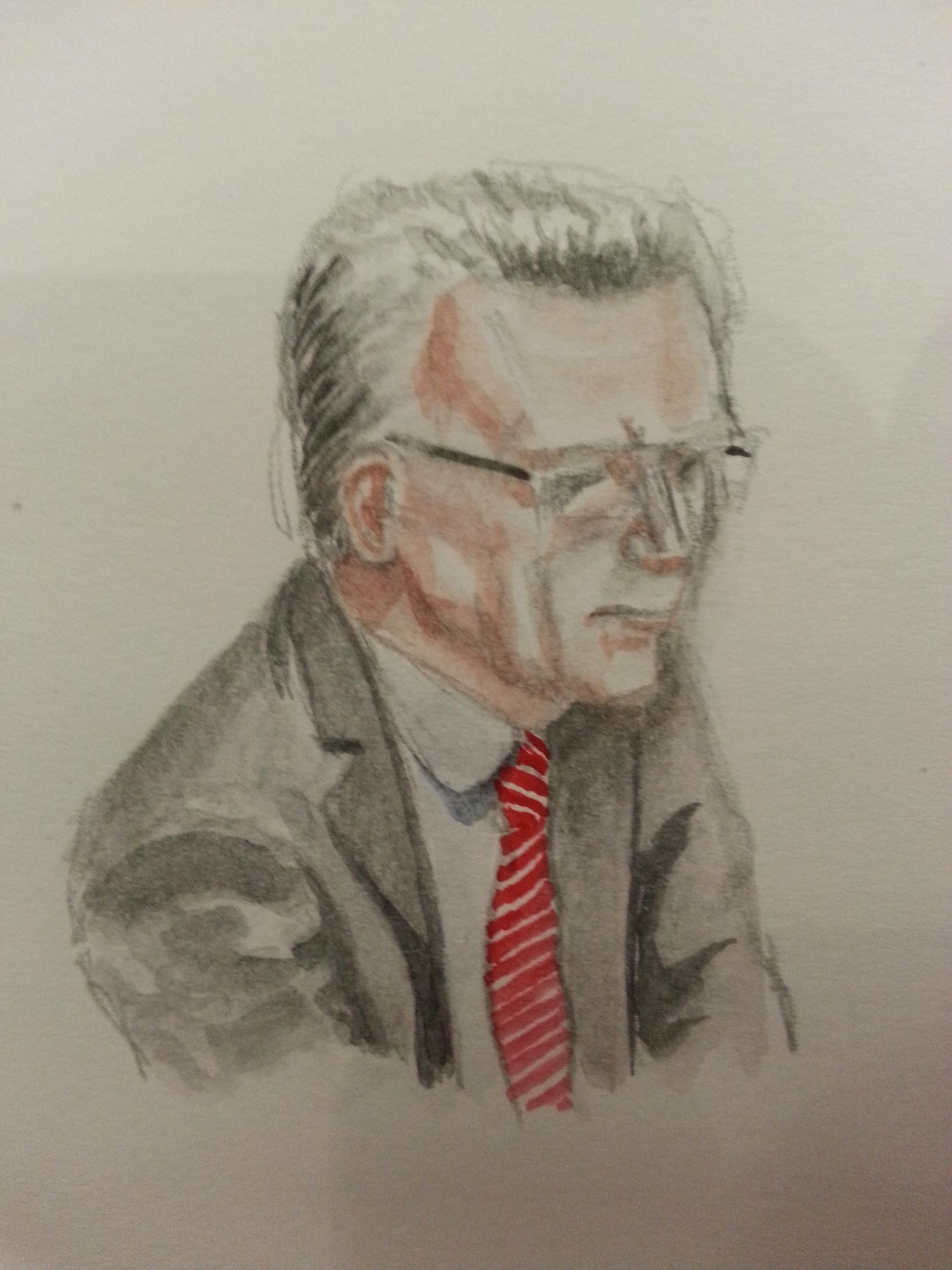 Zeuge Thomas de Maizière bei seiner Anhörung. Zeichnung: Stella Schiffczyk.