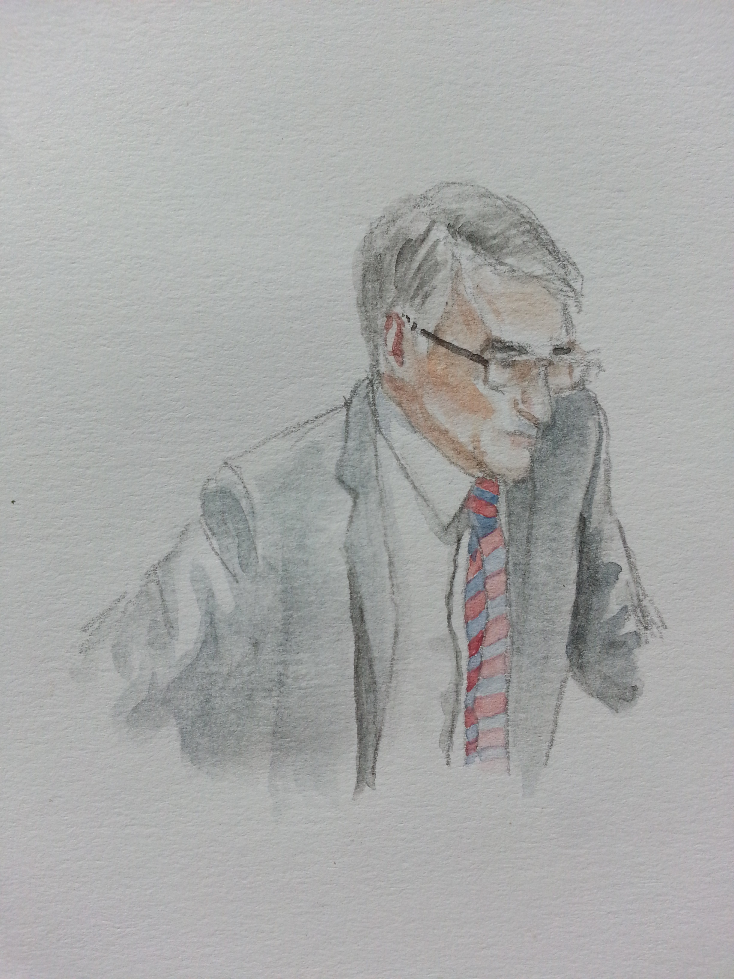 Zeuge Günter Heiß bei seiner Anhörung. Zeichnung: Stella Schiffczyk.