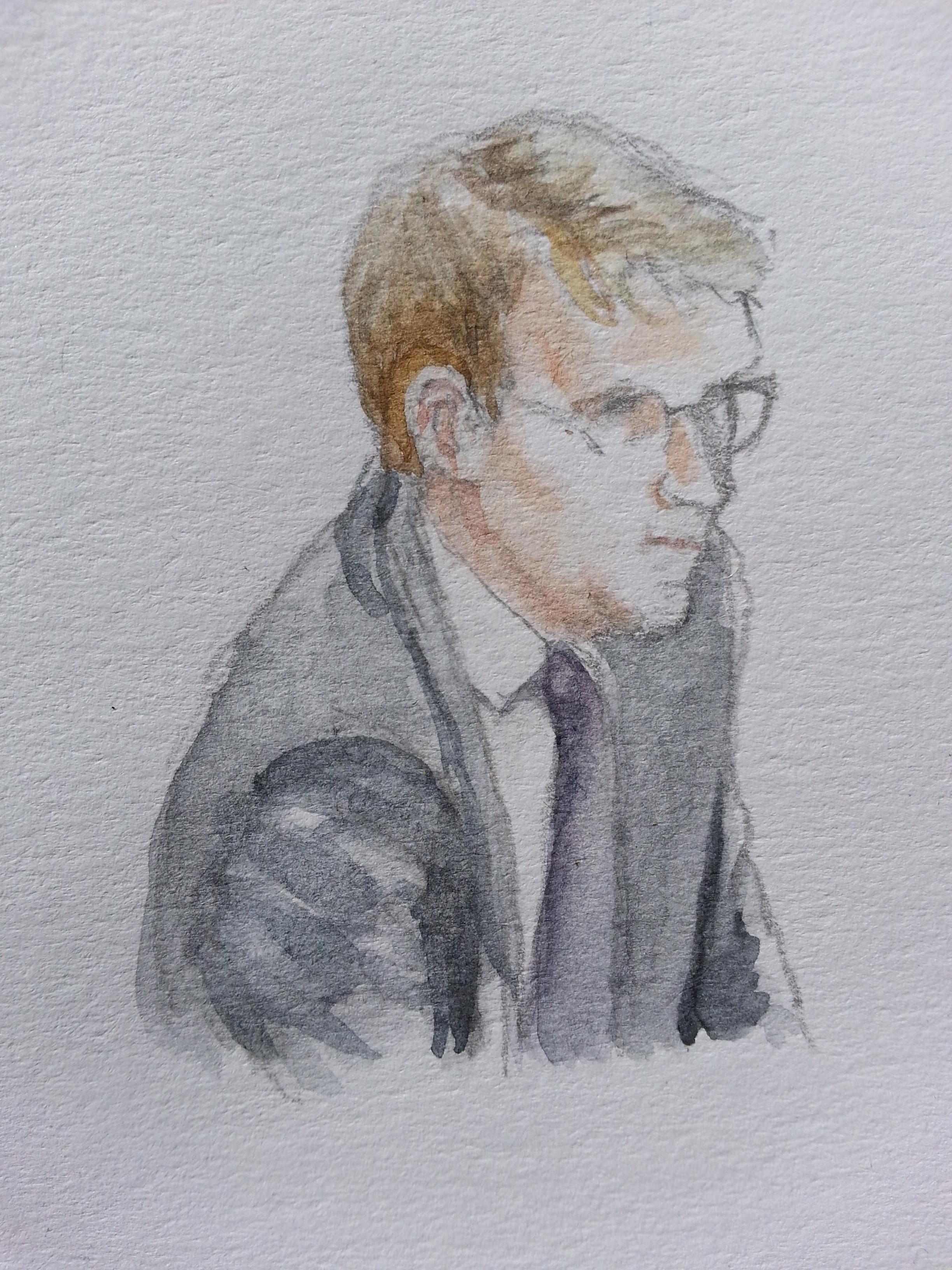Zeuge Ronald Pofalla bei seiner Anhörung. Zeichnung: Stella Schiffczyk.