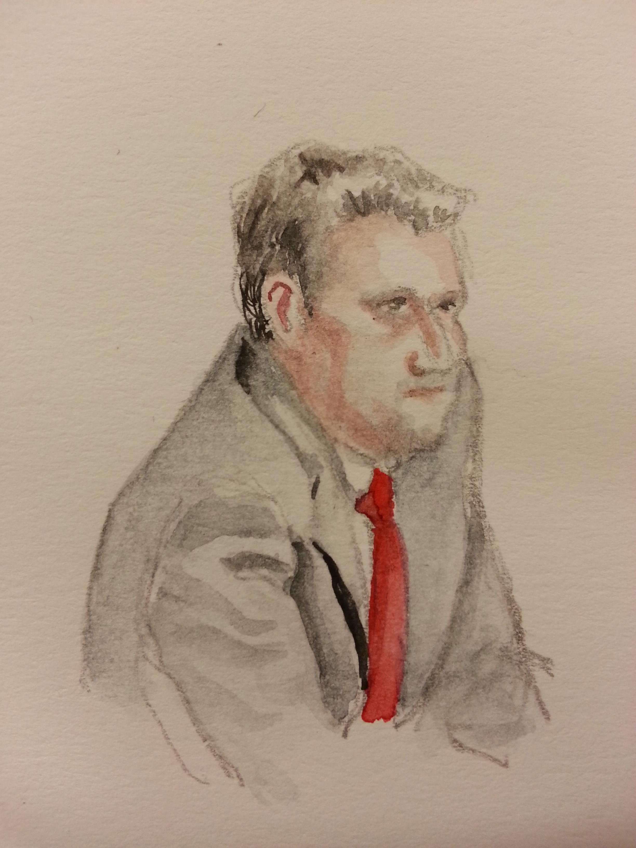 Zeuge Oliver Matt bei seiner Anhörung. Zeichnung: Stella Schiffczyk.