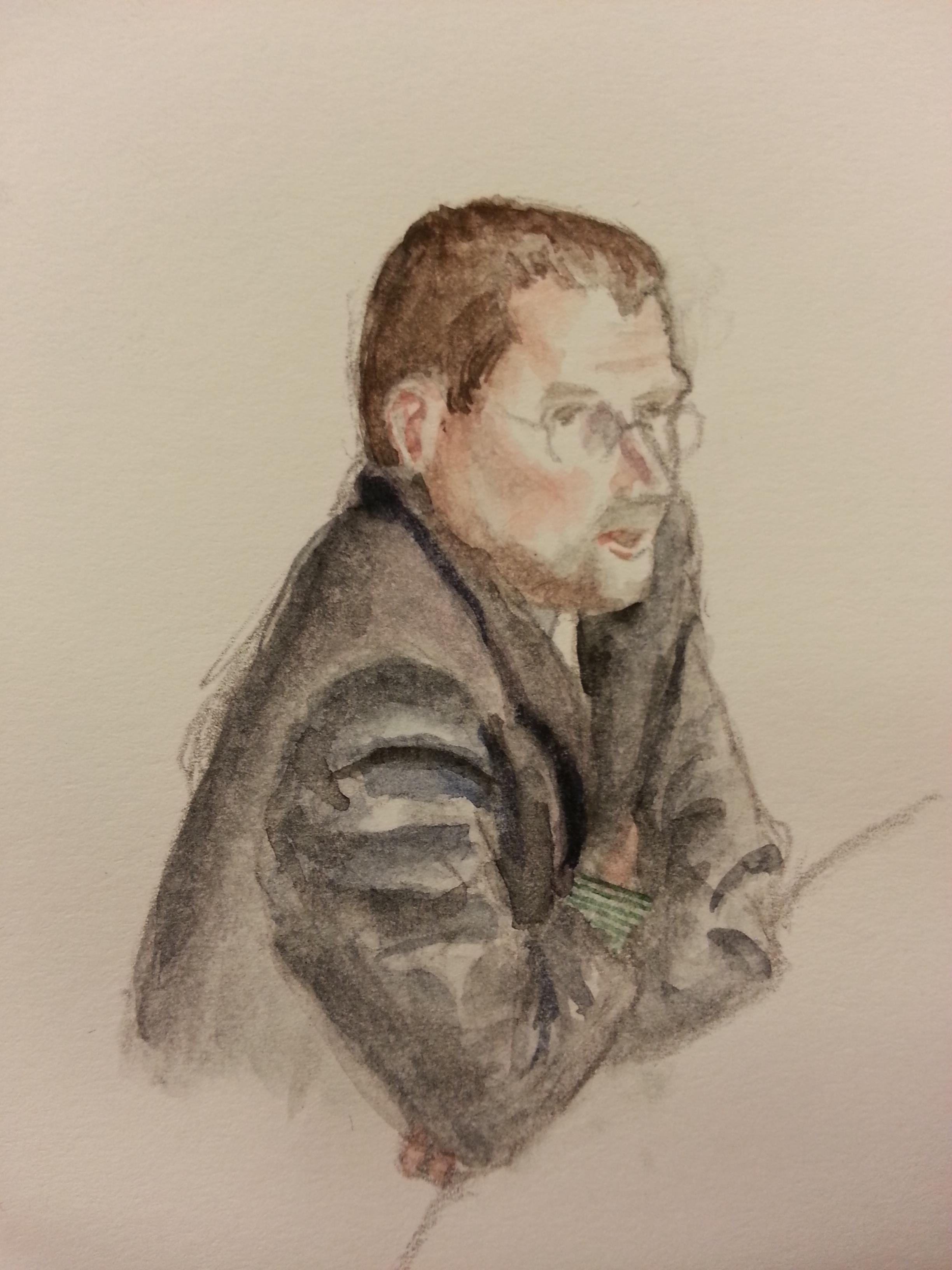 """Zeuge """"T. B."""" bei seiner Anhörung. Zeichnung: Stella Schiffczyk."""