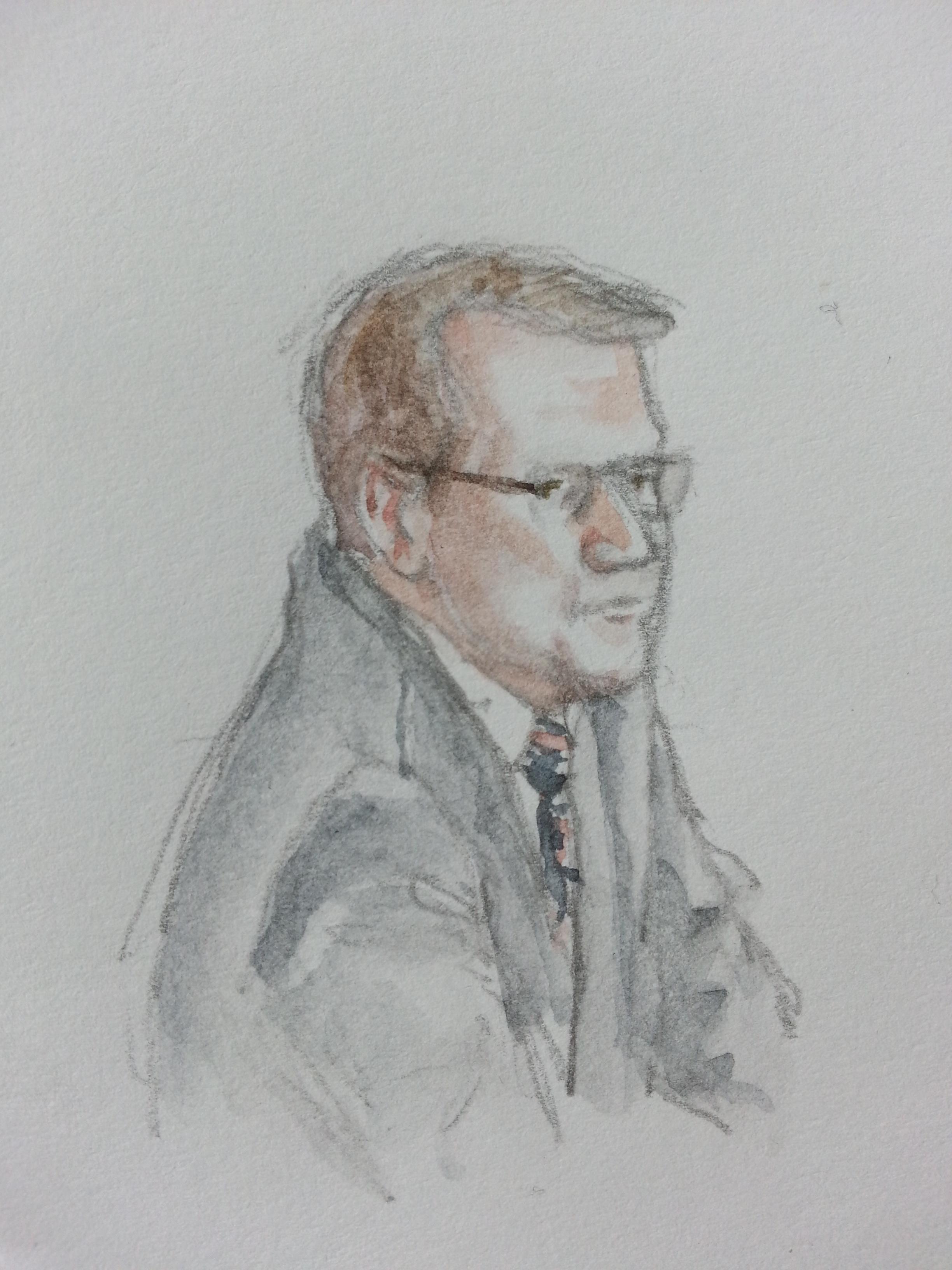 """Zeuge """"W. O."""" bei seiner Anhörung. Zeichnung: Stella Schiffczyk."""
