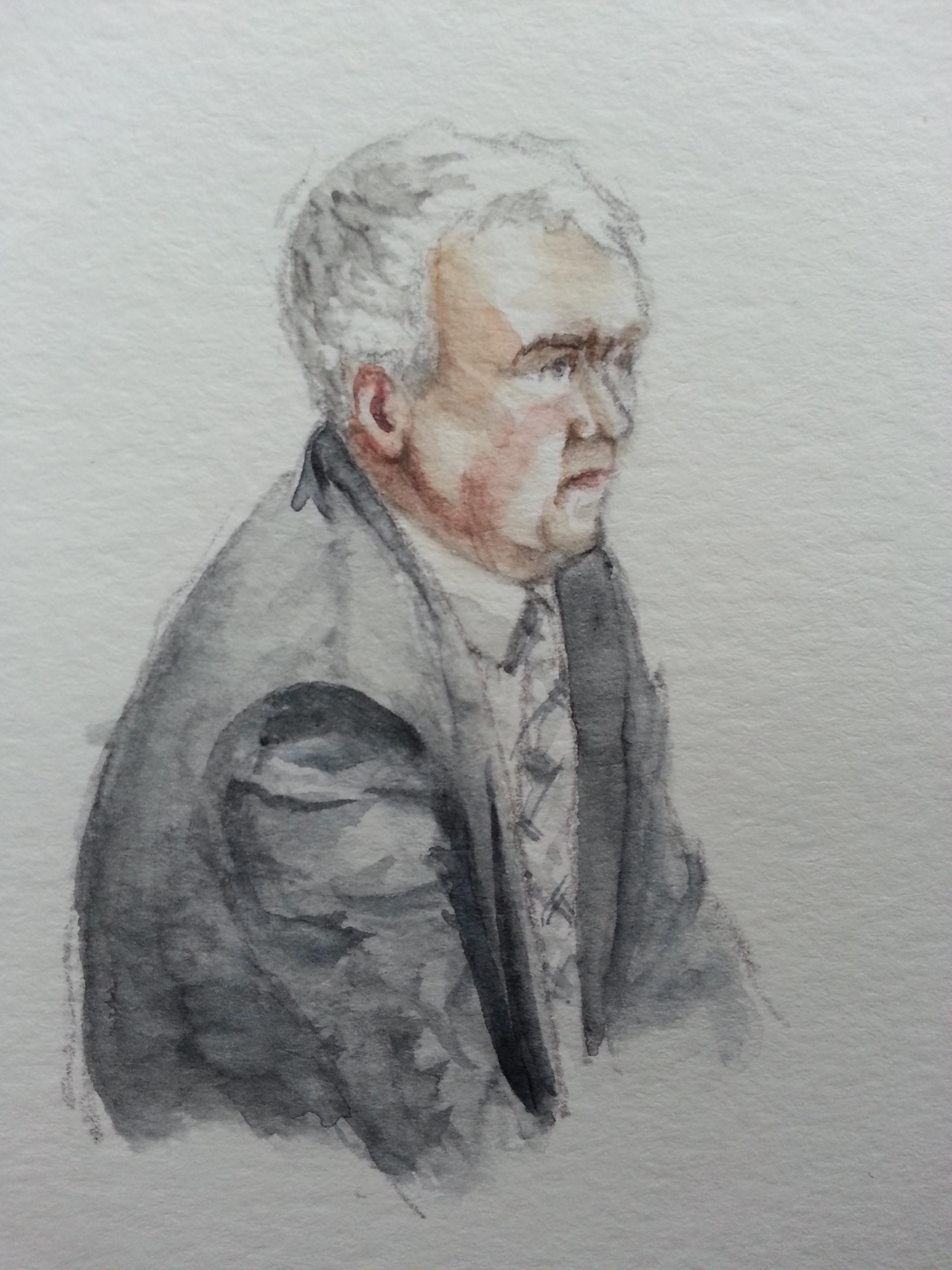 Zeuge Frank Wingerath bei seiner Anhörung. Zeichnung: Stella Schiffczyk. Lizenz: nicht frei.