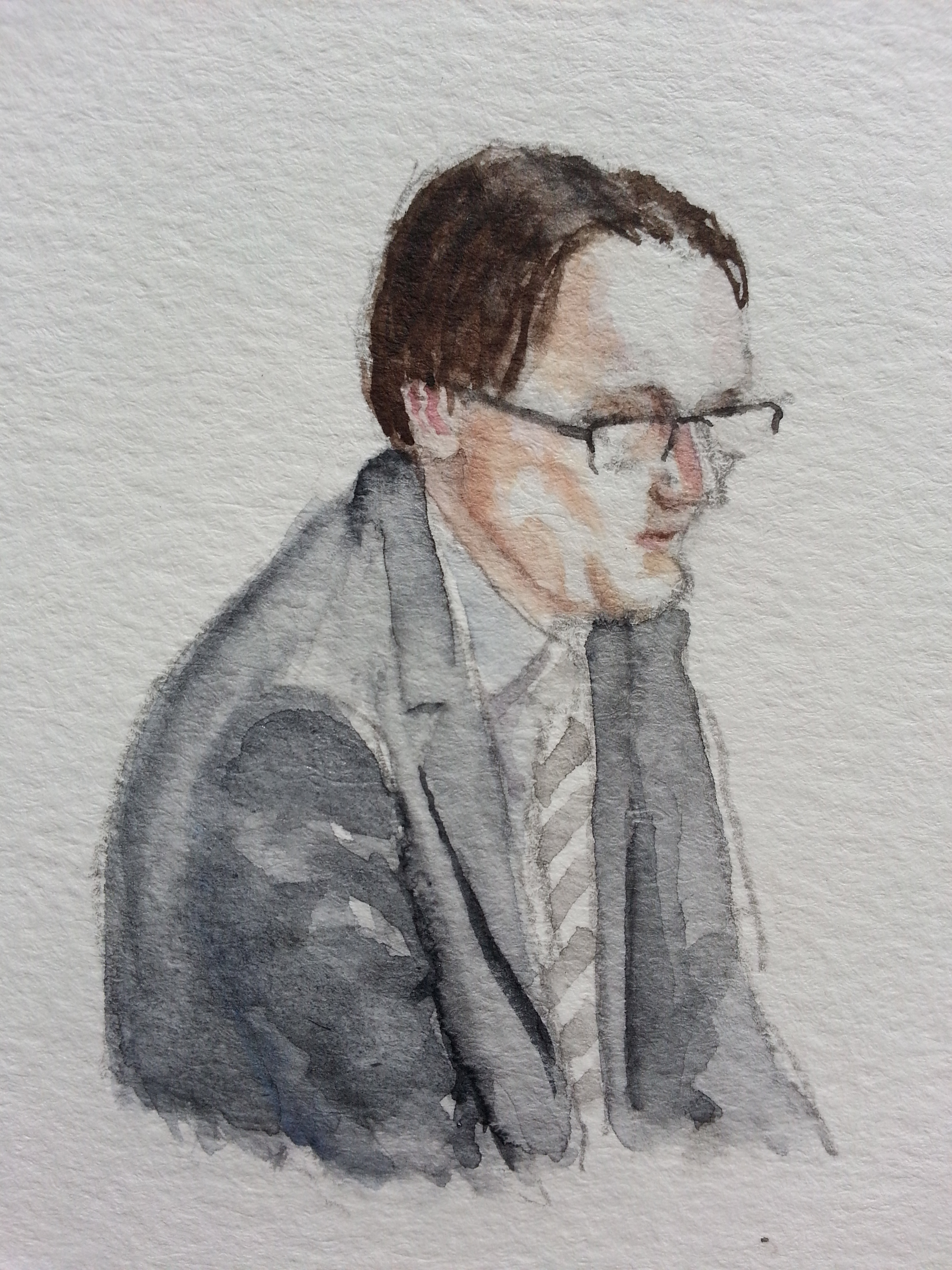 Zeuge Wilhelm Dettmar bei seiner Anhörung. Zeichnung: Stella Schiffczyk. Lizenz: nicht frei.