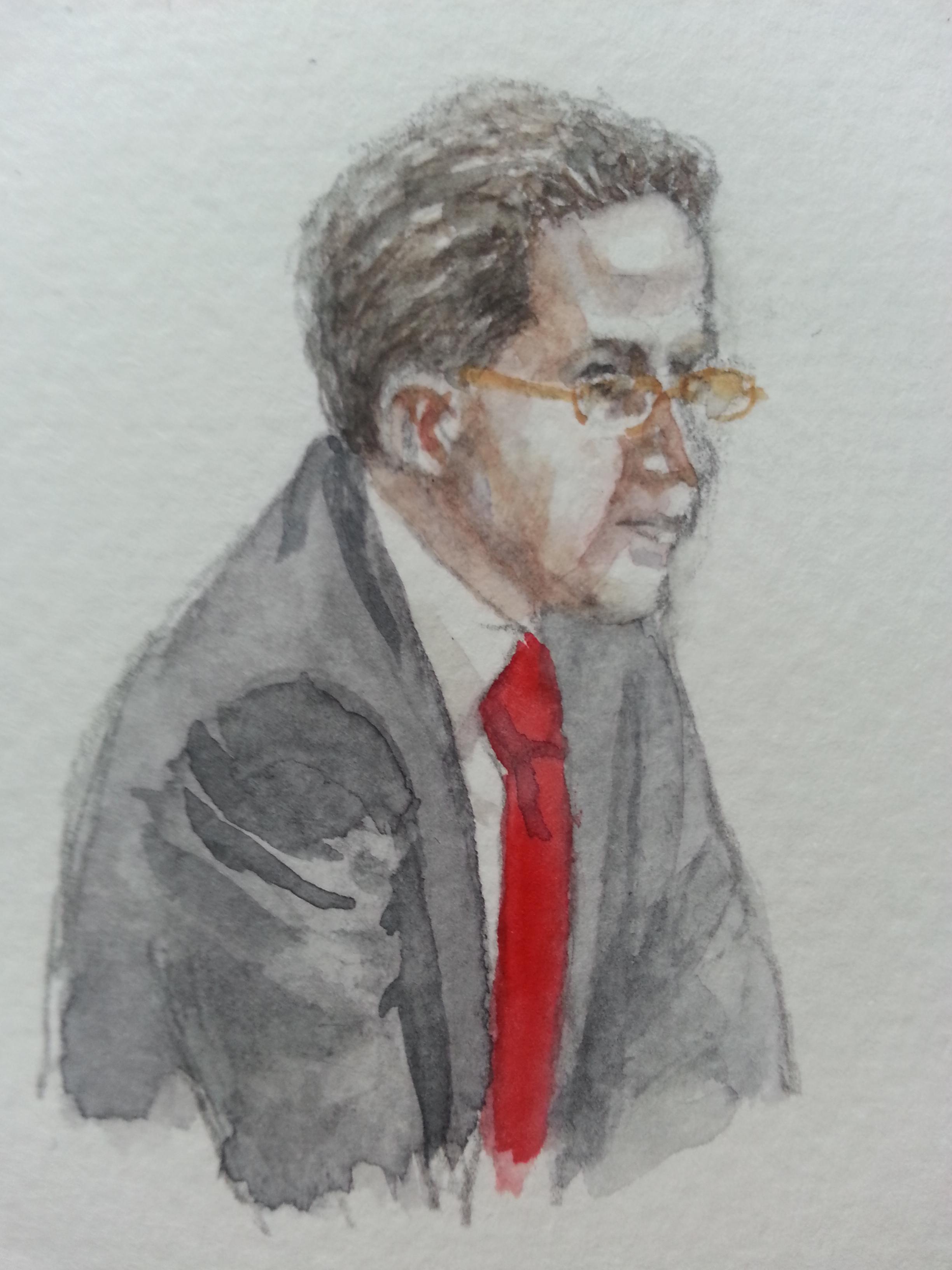 Zeuge Hans-Georg Maaßen während seiner Aussage. Zeichnung: Stella Schiffczyk. Lizenz: nicht frei.