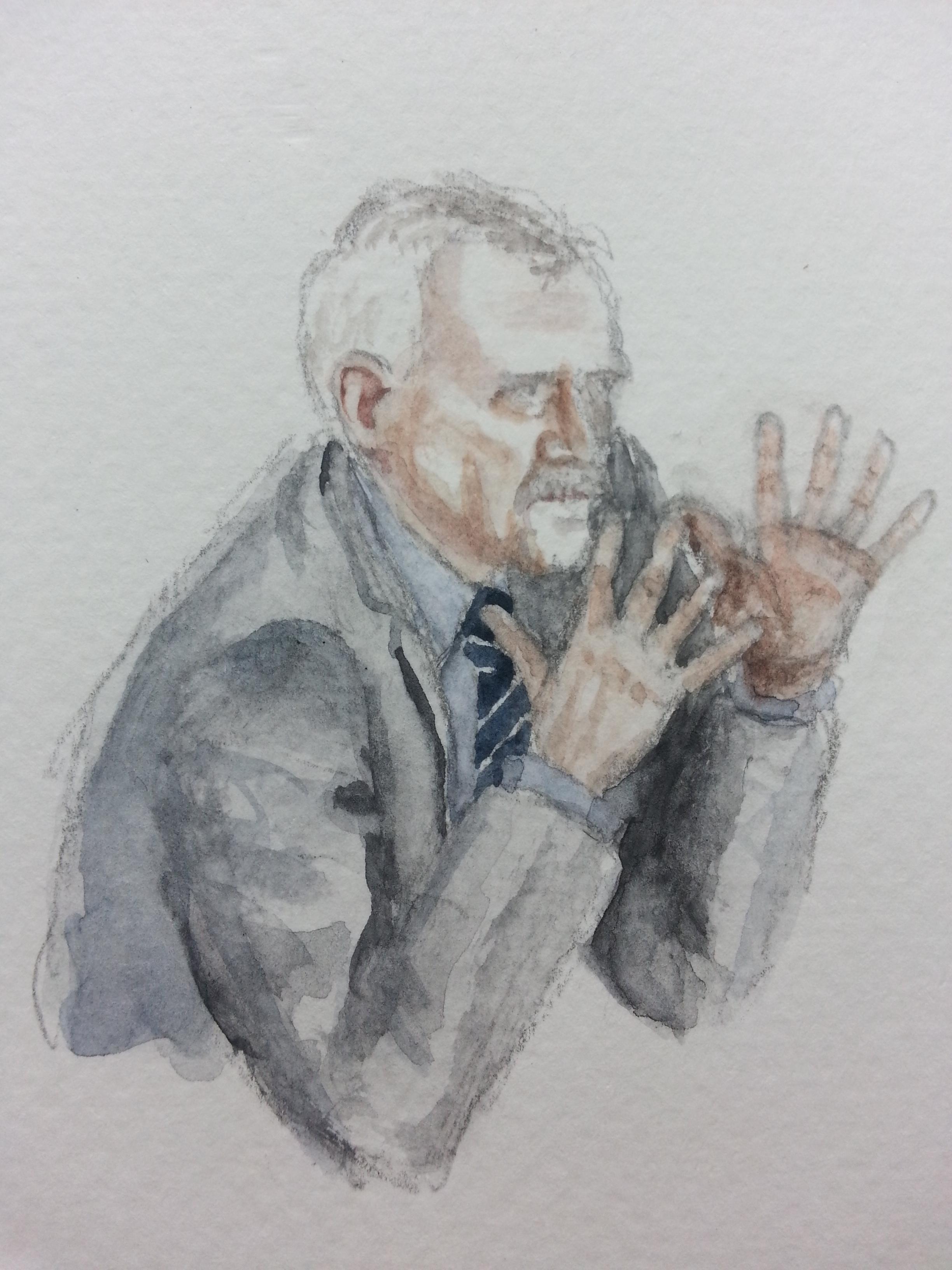 Zeuge Heinz Fromm während seiner Aussage. Zeichnung: Stella Schiffczyk. Lizenz: nicht frei.