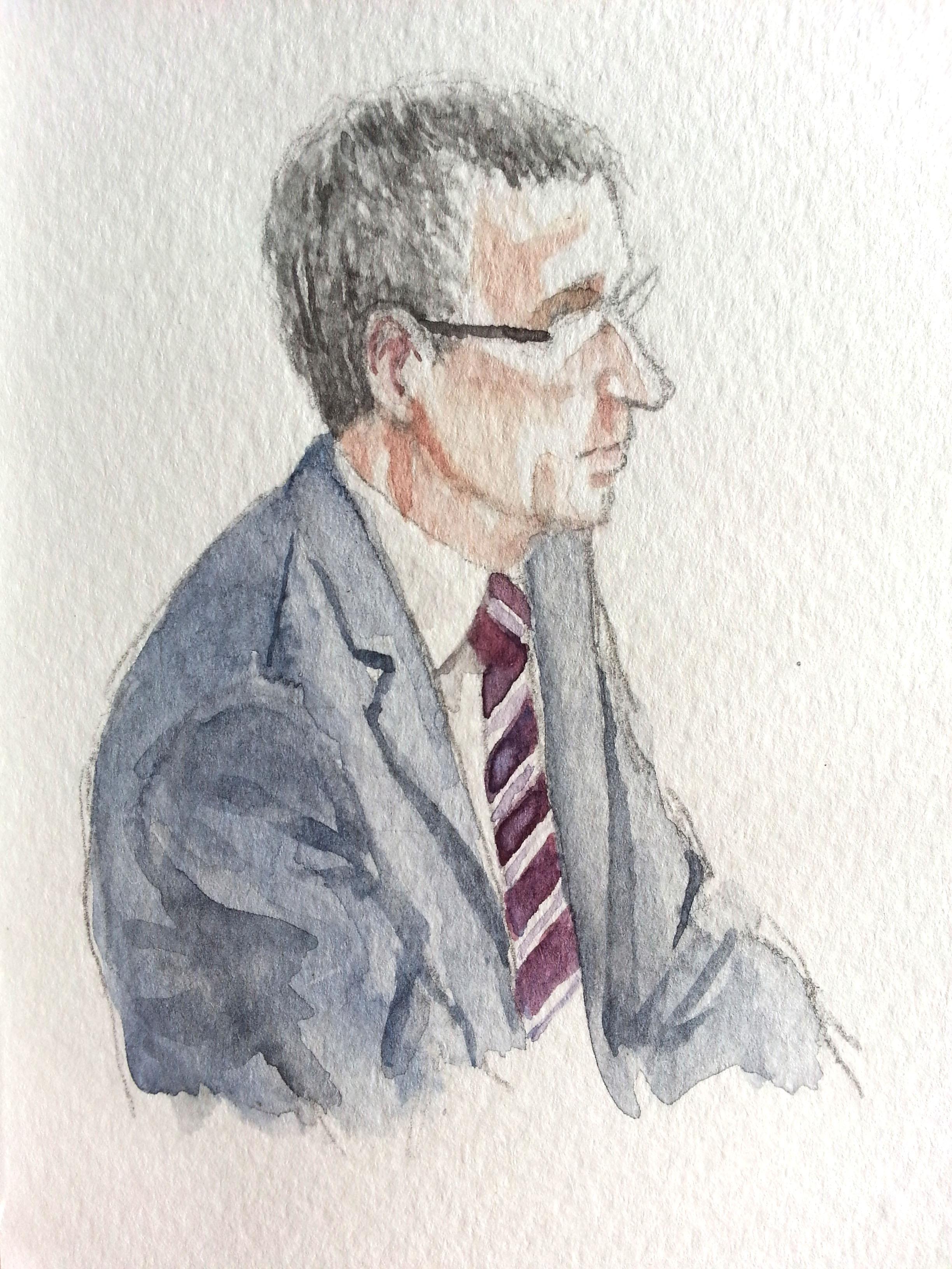 Zeuge Andreas Könen während seiner Aussage. Zeichnung: Stella Schiffczyk. Lizenz: nicht frei.