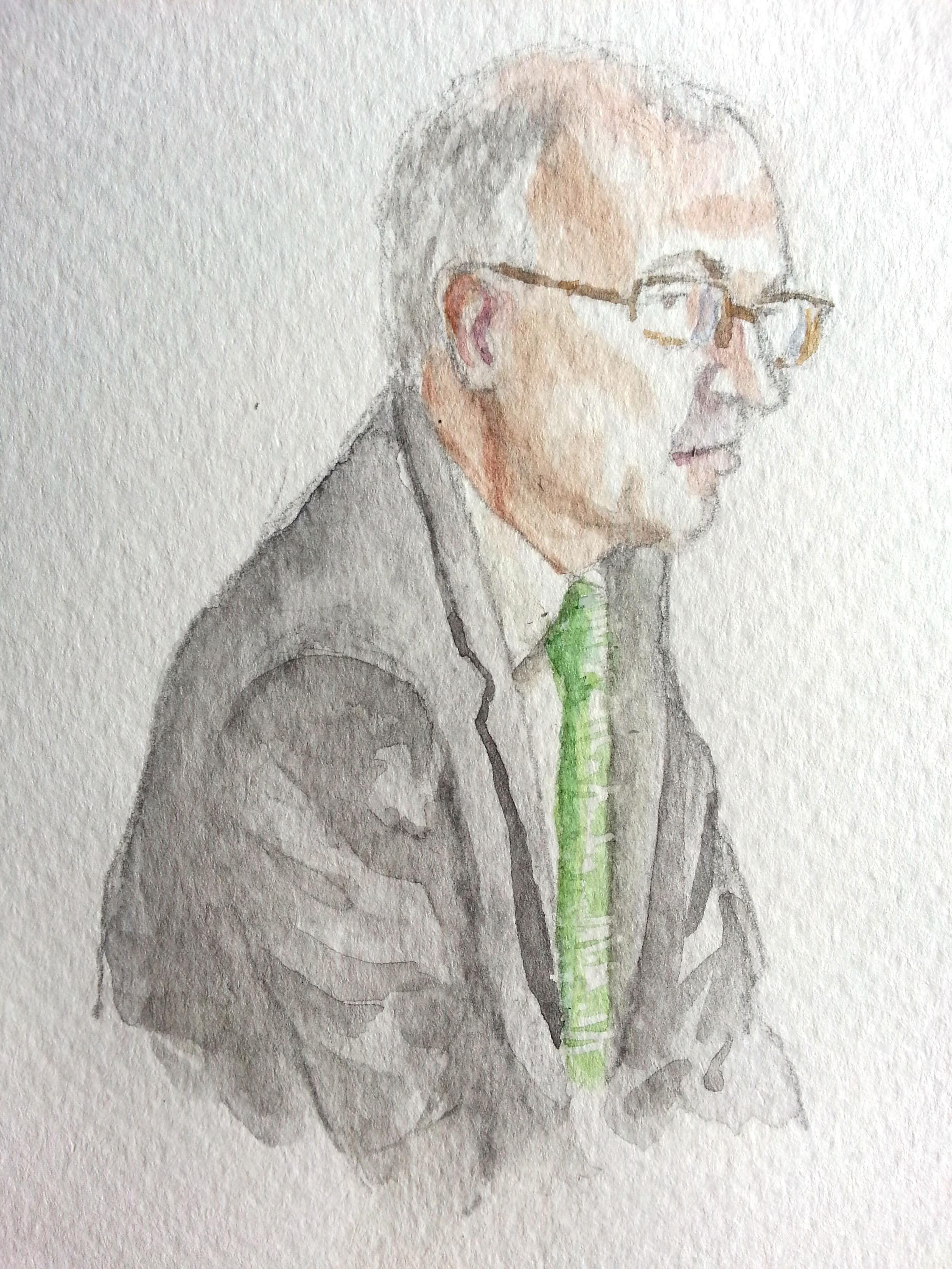 Zeuge Martin Schallbruch während seiner Aussage. Zeichnung: Stella Schiffczyk. Lizenz: nicht frei.