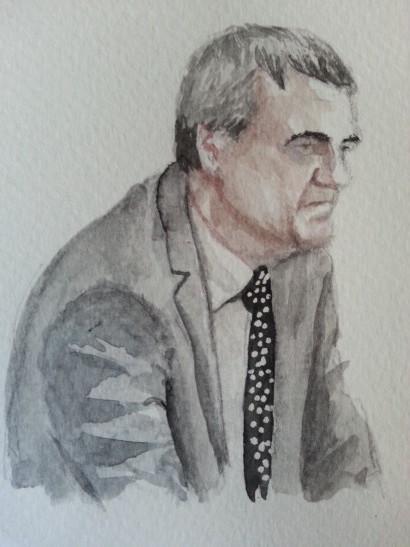 Zeuge Stefan Kaller während seiner Aussage. Zeichnung: Stella Schiffczyk. Lizenz: nicht frei.