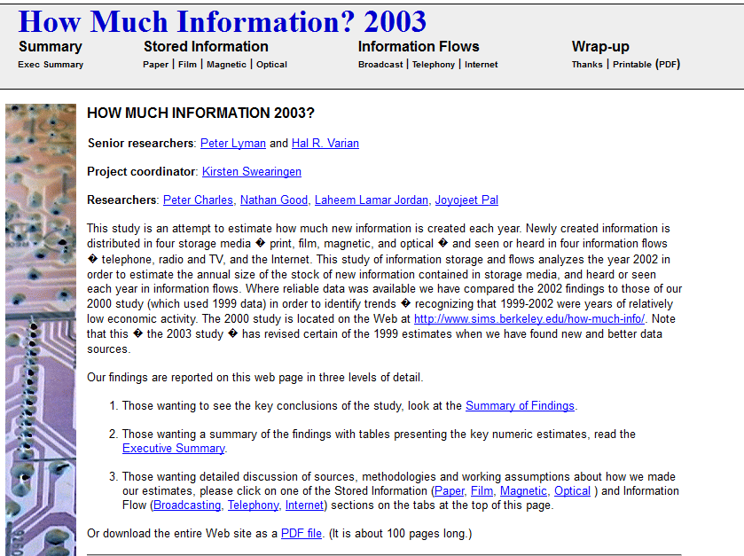 "Screenshot: ""How much information 2003?"" via berkley.edu"