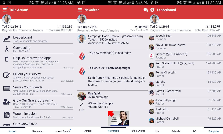 "Screenshots aus der ""Cruz Crew""-App"