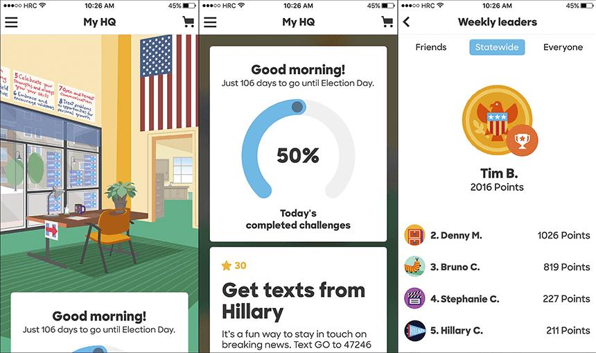 """Screenshots aus der """"Hillary 2016""""-App"""