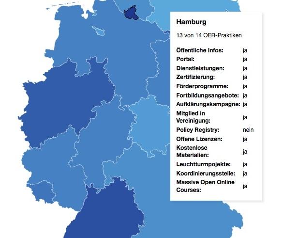 Ausschnitt der interaktiven OER-Karte der Technologiestiftung Berlin zur Verbreitung von OER-Praktiken in Deutschland (CC BY-SA 4.0)