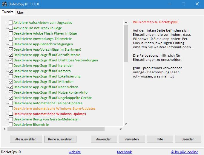 Screenshot des Programms der Firma pXc-coding.