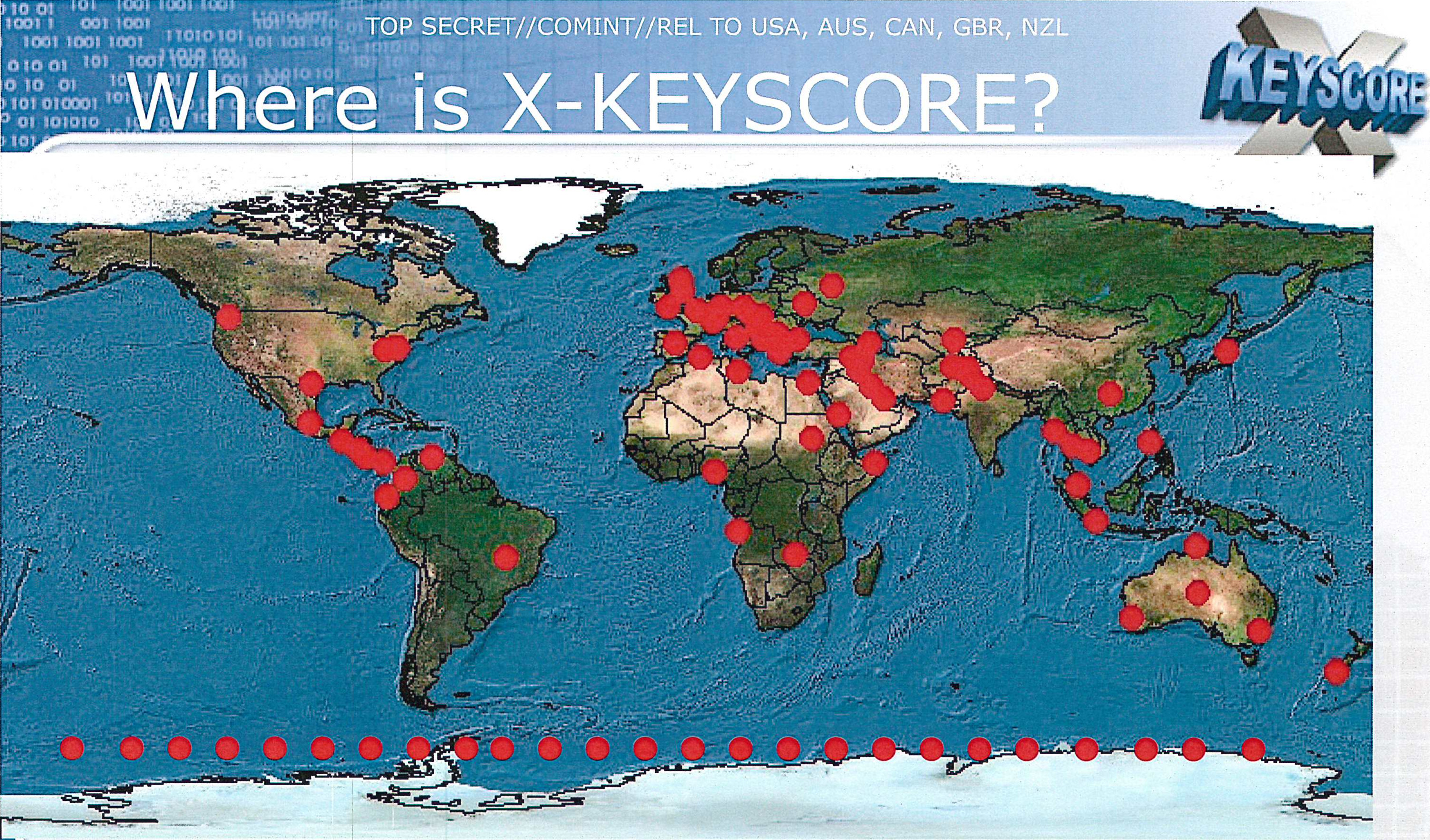 Places with XKeycore on Earth. One of them is Bad Aibling. Picture: NSA.