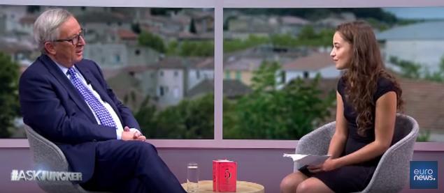 Laetitia Birbes in ihrem Gespräch mit Jean-Claude Juncker. Screenshot YouTube