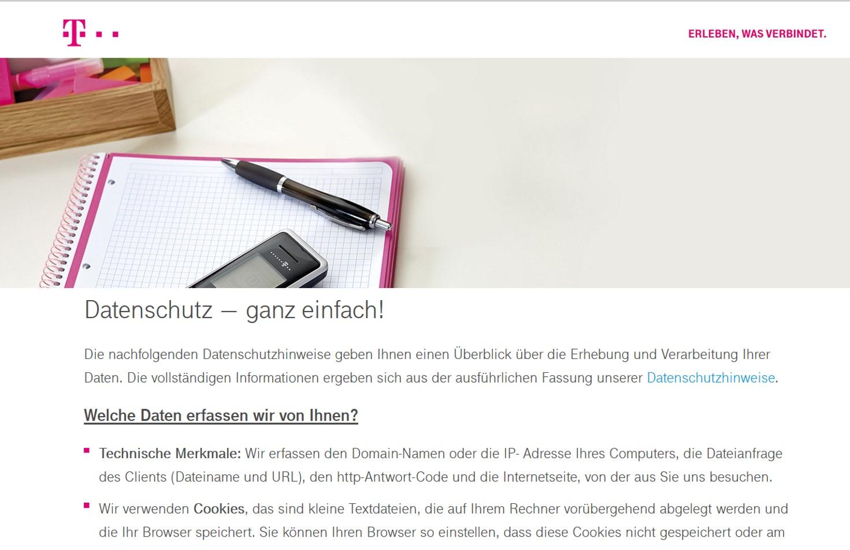 Die Telekom arbeitet zur Verbraucherinformation jetzt mit Zusammenfassungen ihrer Datenschutzhinweise: Foto: Screenshot https://www.telekom.de/datenschutz-ganz-einfach