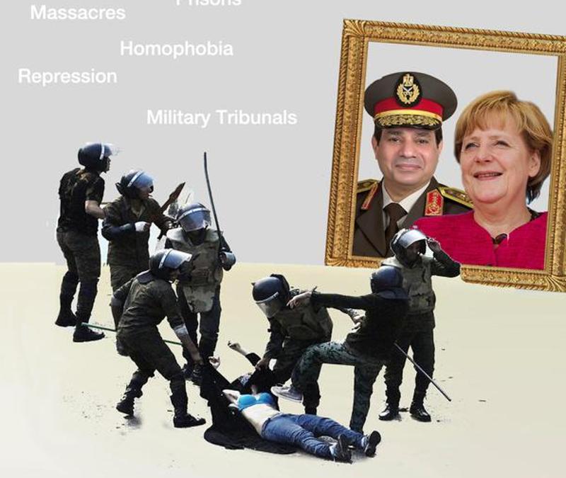 Ausschnitt eines Plakates zum Protest gegen den Besuch von al-Sisi in Berlin.