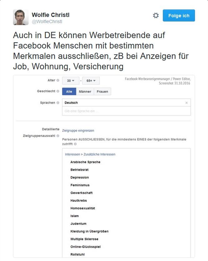 Auch in Deutschland können Werbetreibende genau auswählen, wen sie ausschließen wollen. Sceenshot: Wolfie Christl via Twitter.