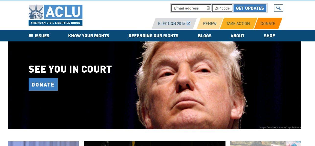 Wir sehen uns vor Gericht. Screenshot der Webseite der ACLU am Tag nach der Wahl.