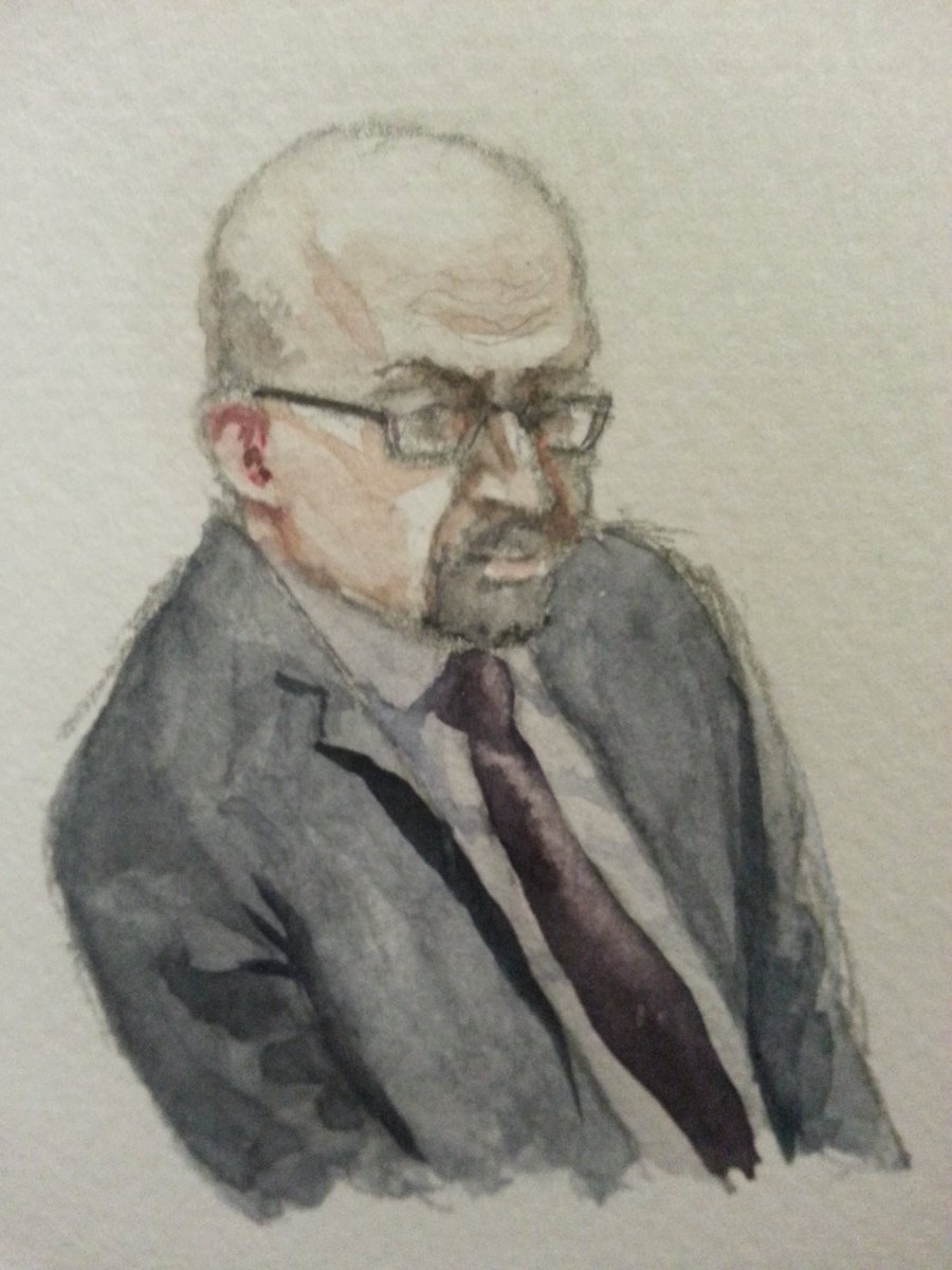 Zeuge T.P. bei seiner Anhörung. Zeichnung: Stella Schiffczyk