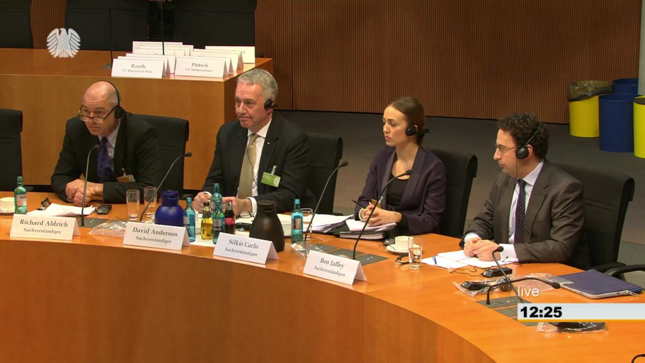 Die Sachverständigen kurz vor ihren Eingangsstatements. Screenshot: Bundestag TV.