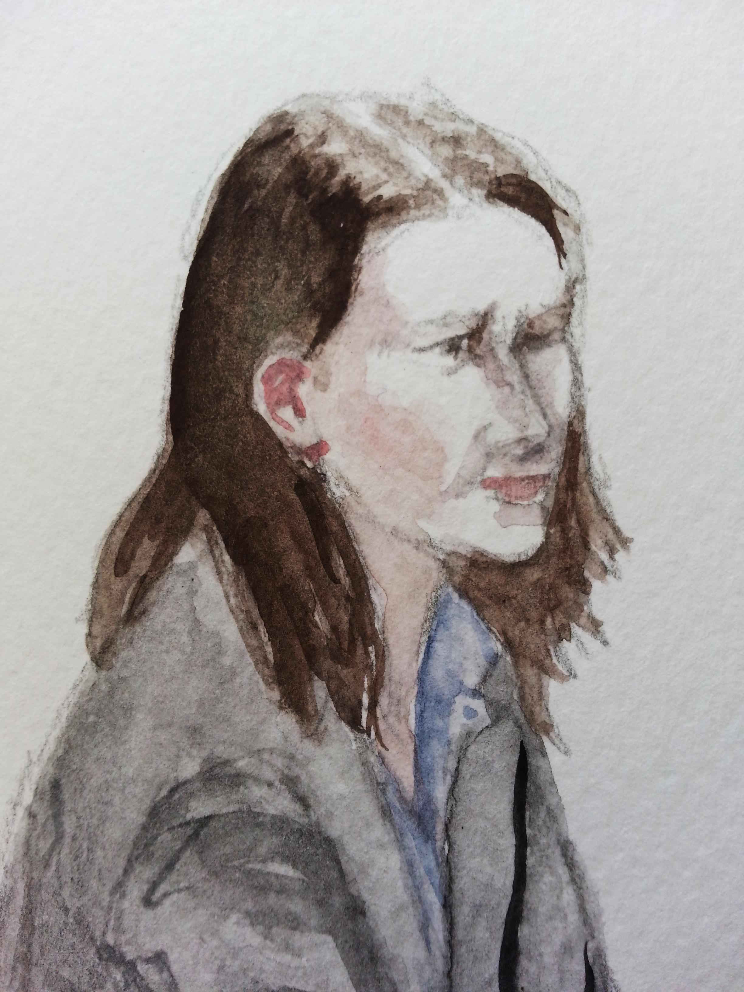 Zeugin Dr. H. F. bei ihrer Aussage. Zeichnung: Stella Schiffczyk. Alle Rechte vorbehalten.