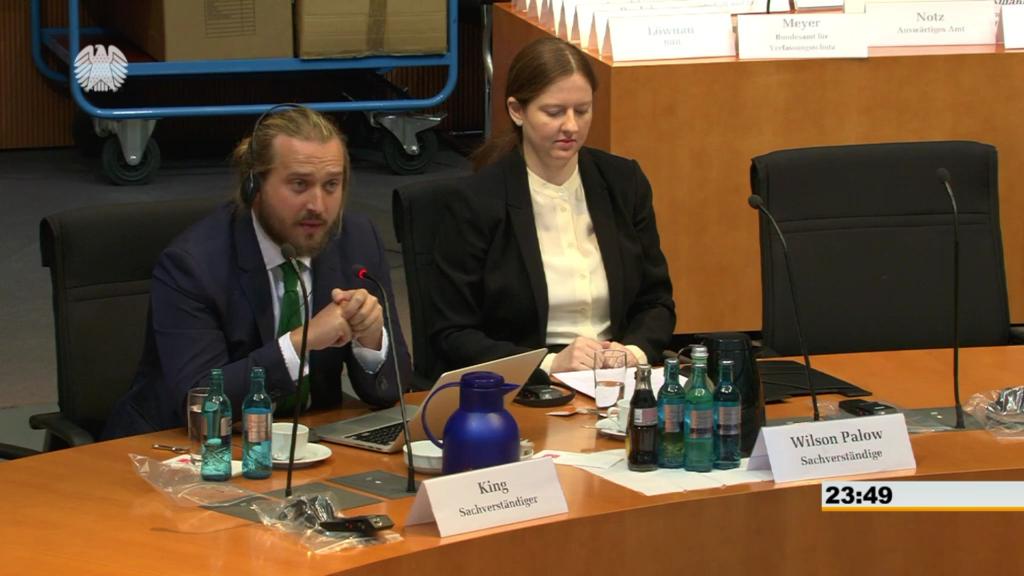 Die Sachverständigen vor Beginn der Anhörung. Bild: Bundestag TV.