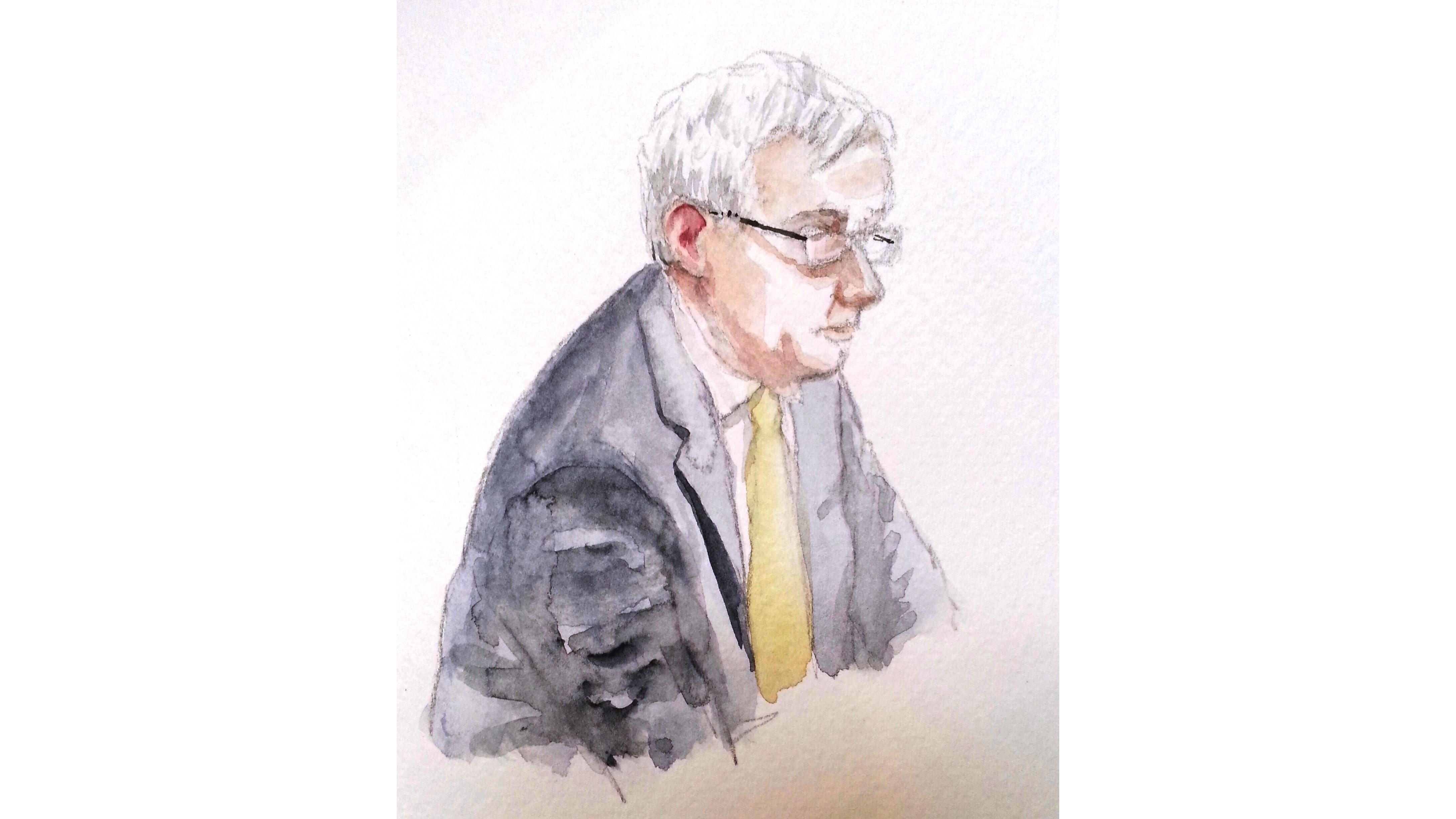 Zeuge Hartmut Pauland bei seiner Aussage. Zeichnung: Stella Schiffczyk. Alle Rechte vorbehalten.