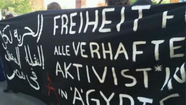 Transparent zu den jüngsten Festnahmen in Ägypten am 1. Mai in Berlin.