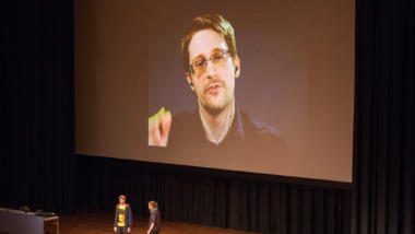 Edward Snowden auf dem 33. Chaos Communication Congress.