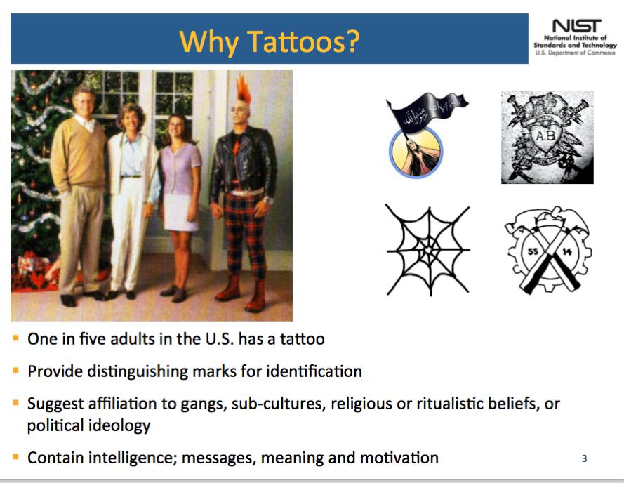 Tattoos geben viele private und intime Informationen über die Träger Preis. Das Bild zeigt eine Folie der NIST.