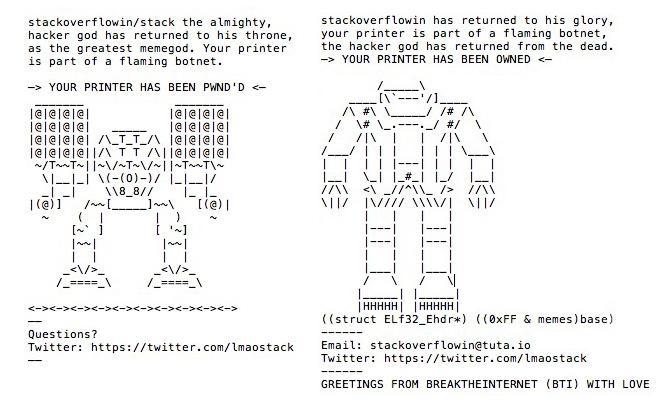 Drucker gehackt - Schüler hackt 150000 Drucker weltweit und druckt ASCII Zeichen aus.
