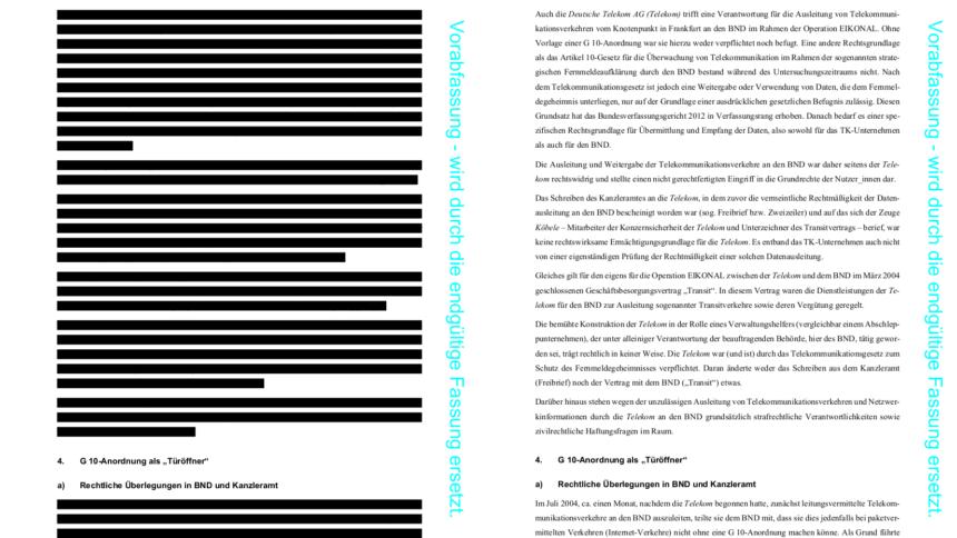 Nsaua Abschlussbericht Im Original Links Und Von Uns Bearbeitet Rechts