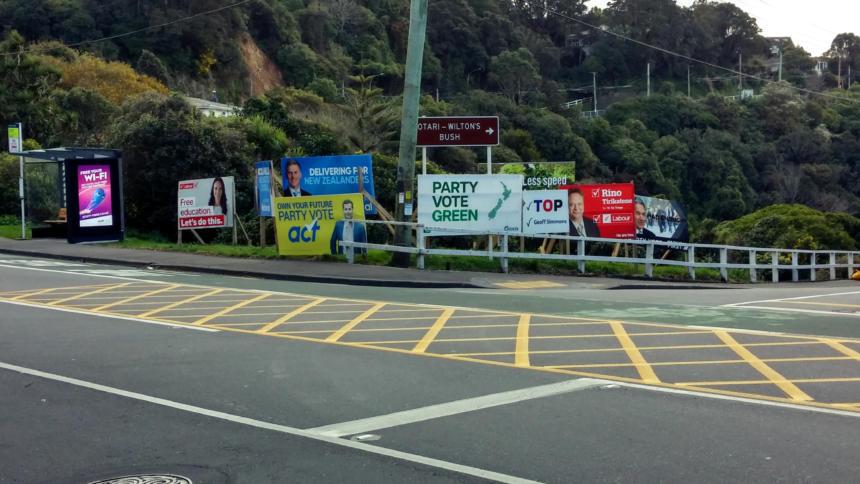 Wahlplakate in der Hauptstadt Wellington.