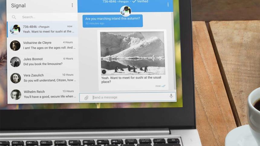 Desktop-App von Signal auf einem Bildschirm