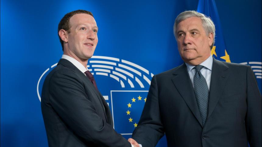 Mark Zuckerberg in Brüssel mit EU-Parlamentspräsident Tajani
