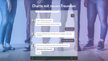 screenshot der Knuddels.de-Startseite. Nutzer wird aufgefordert, sein Passwort festzulegen.